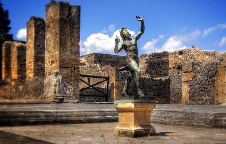 Statue of the faun from house of the faun in pompeii
