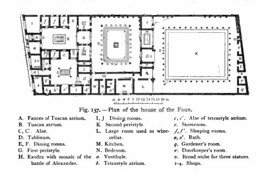 Layout plans for the massive house of the faun in pompeii